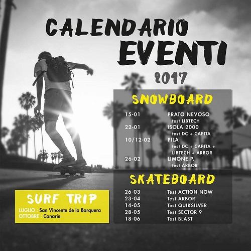 Snowboard Skate Surf eventi 2017